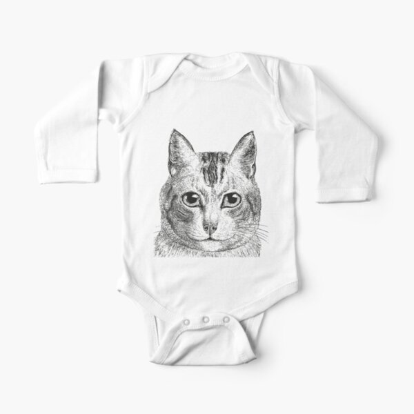 Cat | Black and White |  Long Sleeve Baby One-Piece