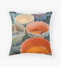 Orange Paint Pots Throw Pillow