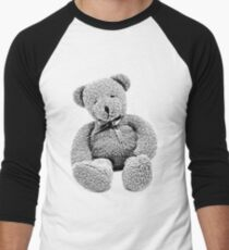Cuddly Teddy Bear. Vintage Teddy Bear. Antique Teddy Bear. Teddy Bear Engraving. Men's Baseball ¾ T-Shirt