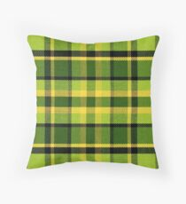 Green Yellow Plaid Vintage Volkswagen Westfalia Bus Pattern Throw Pillow