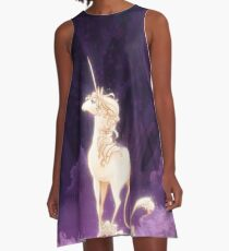 Unicorn in a Lilac Wood A-Line Dress