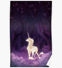 Unicorn in a Lilac Wood Poster