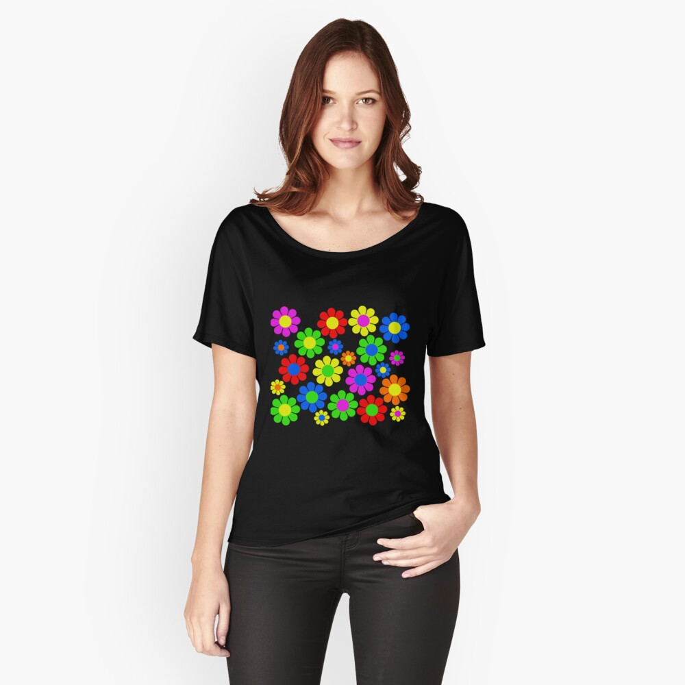 Hippy Flower Daisy Spring Pattern Relaxed Fit T-Shirt