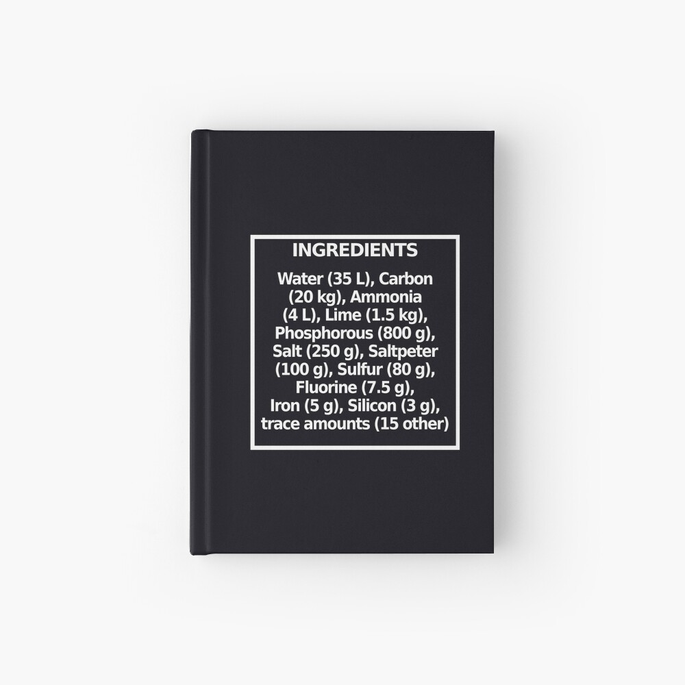 Ingredients (dark) Hardcover Journal