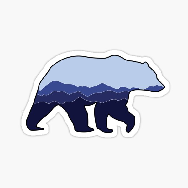 Bear Graphic- Blue, Mountains Sticker