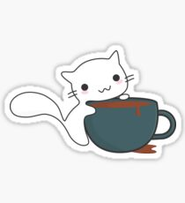 Cute Cat and Coffee Sticker