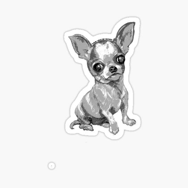 Mini Chihuahua with Tiara ~ Black and white Sticker