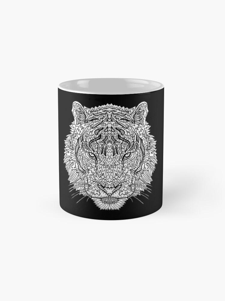 Alternative Ansicht von Tiger - Tätowierungskunst - schwarze Linie Illustration Tassen