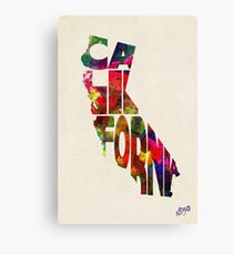 California Typographic Watercolor Map Canvas Print