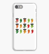 Spicy Chili Emoji 15 Different Facial Expressions iPhone Case/Skin