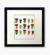 Spicy Chili Emoji 15 Different Facial Expressions Framed Print