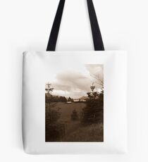 Sepia of the Columbia River and farm Tote Bag