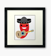 Spicy Chili Emoji Happy Smiling Face with Guitar Framed Print