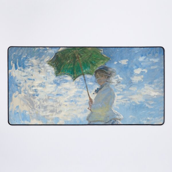 Woman with a Parasol - Madame Monet and her Son, by Claude Monet Desk Mat