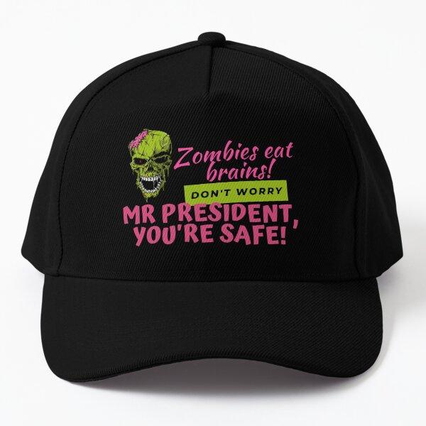 Zombies Eat Brains, but dont worry Mr President - youre safe! Funny Anti Joe Biden Halloween design! Baseball Cap