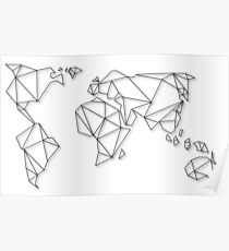 Geometric World Map Posters Redbubble