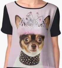 Cute Chihuahua wearing studded collar and tiara Chiffon Top