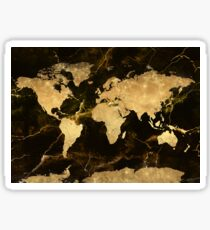 world map gold 7 Sticker