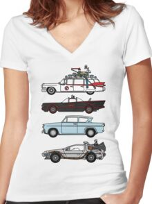 Iconic movie cars Women's Fitted V-Neck T-Shirt