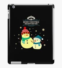 Merry Christmas With Two Cute Snowmen iPad Case/Skin