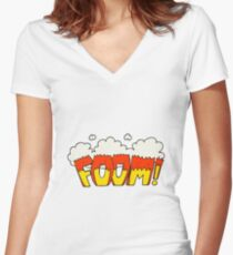cartoon comic book explosion Women's Fitted V-Neck T-Shirt