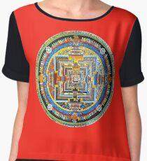Tibetan Mandala red Chiffon Top