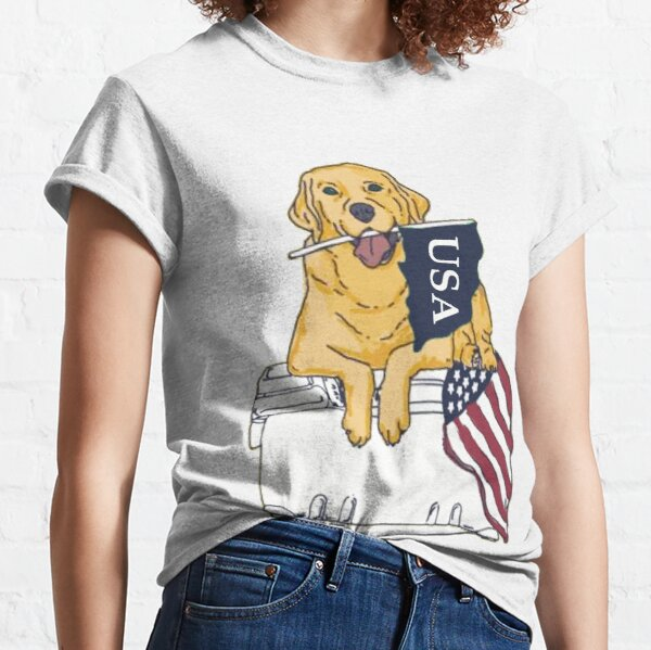 Dog on Cooler with Flag Classic T-Shirt