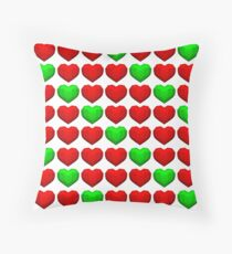 Lowpoly Christmas Hearts Throw Pillow