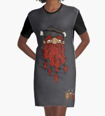 Sweet Nordic Red Viking and brothers Graphic T-Shirt Dress