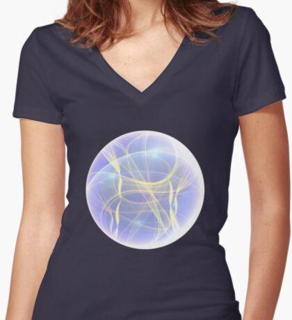 Planet Light #Fractal Art Women's Fitted V-Neck T-Shirt