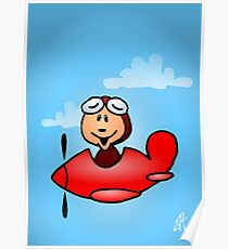 Red airplane with laughing pilot Poster