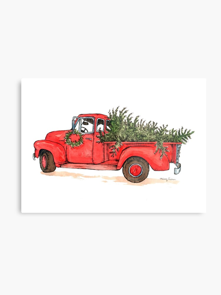 Red Christmas Truck.Little Red Christmas Truck Metal Print