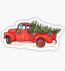 Little Red Christmas Truck Sticker