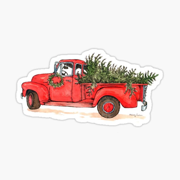 Little Red Christmas Truck Glossy Sticker