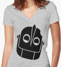 Smiling Iron Giant Vector Women's Fitted V-Neck T-Shirt