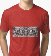 Raw Rough Mean Angry Evil Eyes Sharp Detailed Hand Drawn Tri-blend T-Shirt