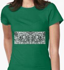 Raw Rough Mean Angry Evil Eyes Sharp Detailed Hand Drawn Womens Fitted T-Shirt