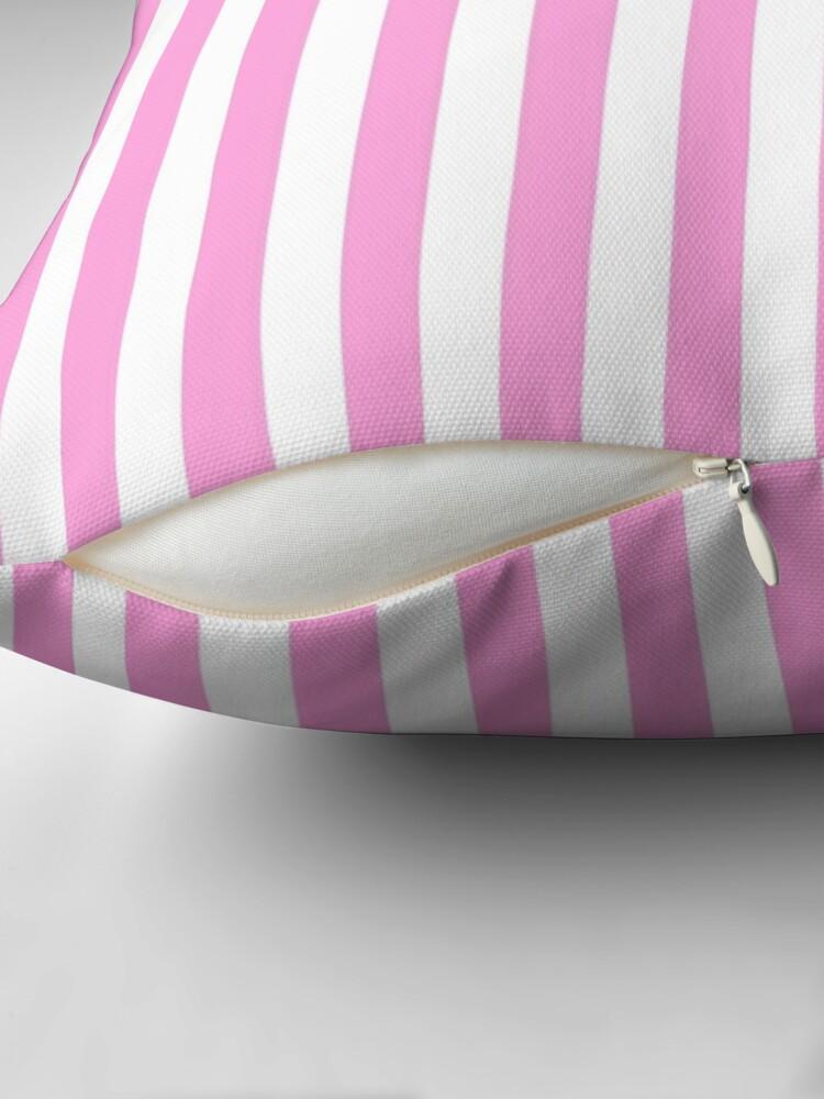 Alternate view of Stripes Pink White Throw Pillow