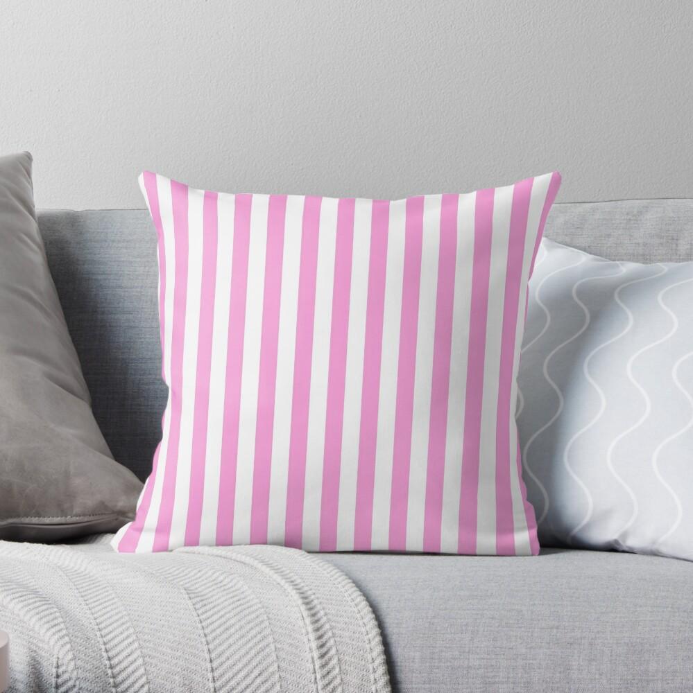 Stripes Pink White Throw Pillow