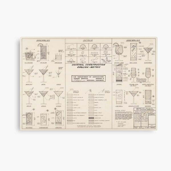 Cocktail Construction Chart by United States Forest Service Canvas Print