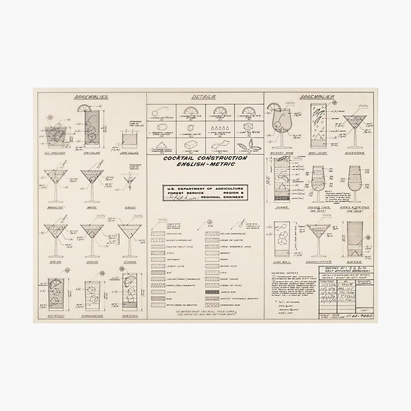Cocktail Construction Chart by United States Forest Service Photographic Print