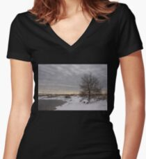 Pearly Grays and Ripples on the Winter Beach Women's Fitted V-Neck T-Shirt