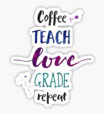 Kaffee unterrichten Liebes-Grad-Wiederholung - kühle Farben Sticker