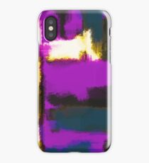 white pink and blue painting texture abstract with black background iPhone Case/Skin