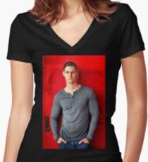 Portrait Of A Man Women's Fitted V-Neck T-Shirt