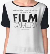 """Everything looks better through my film camera"" Chiffon Top"