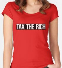 Tax The Rich (white on black) Women's Fitted Scoop T-Shirt