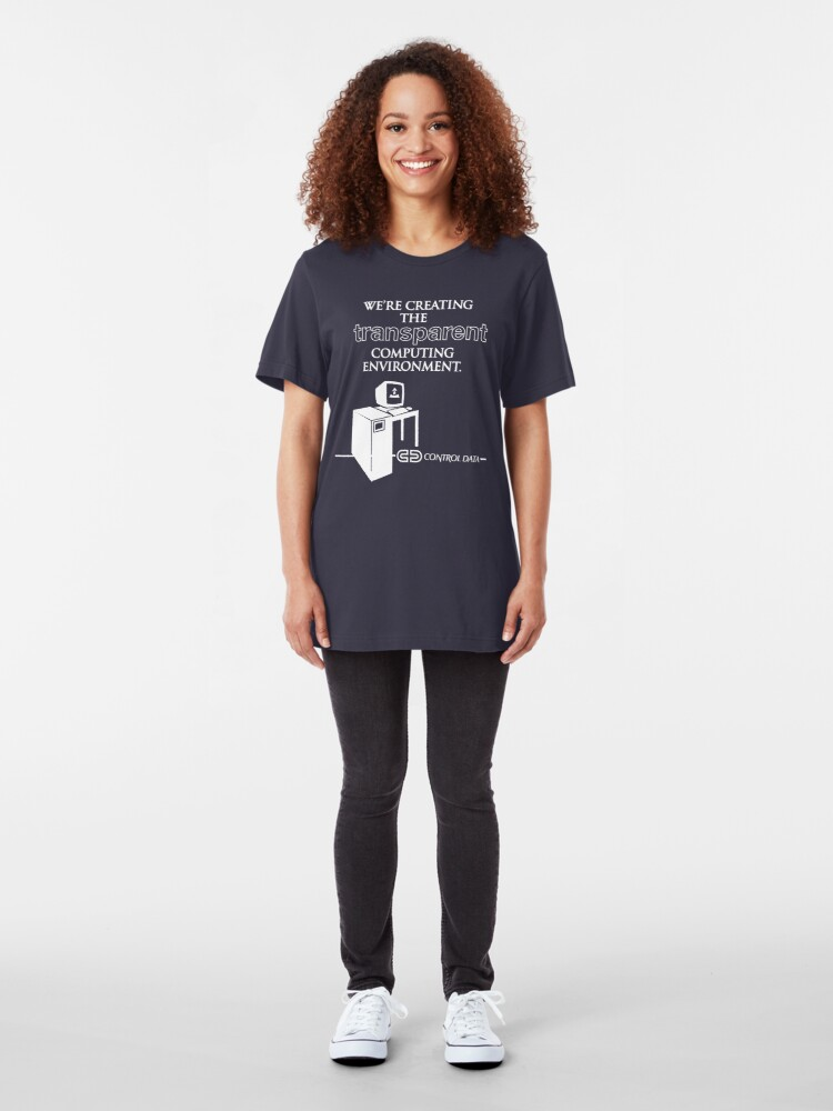 """Alternate view of They Live - """"Control Data"""" Slim Fit T-Shirt"""