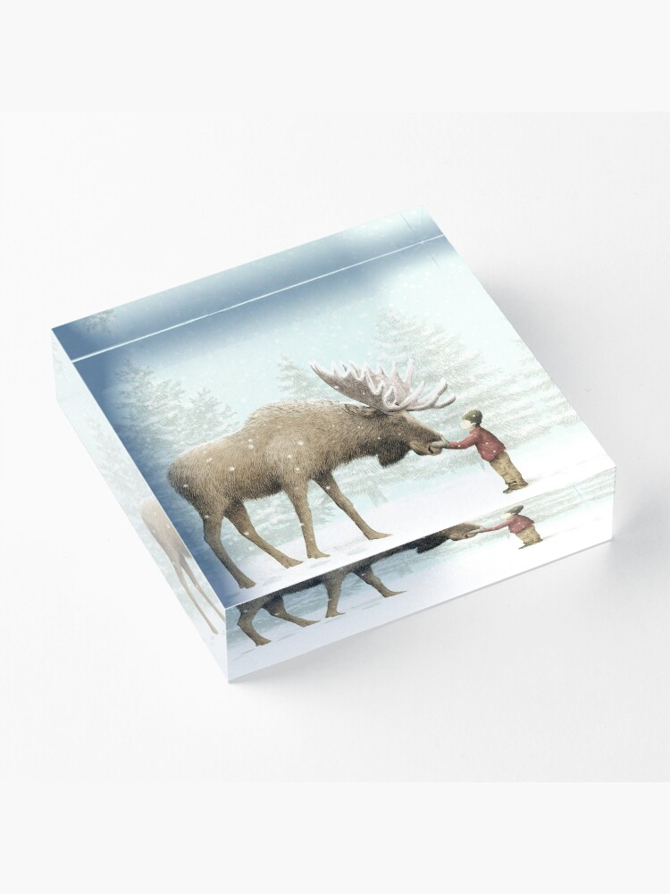 Alternate view of Boy and Moose Acrylic Block