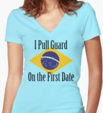 First Date BJJ (Black) Women's Fitted V-Neck T-Shirt